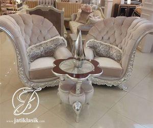 Set Kursi Sofa Mewah Kelopak Silver