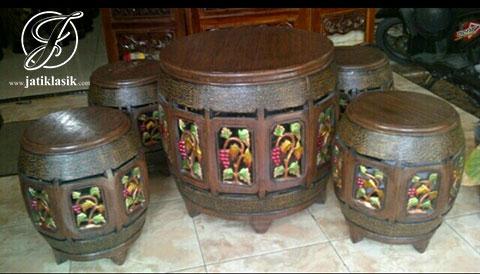 Kursi Gendang Teras Anggur Mewah