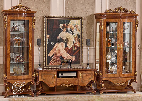 Set Bufet TV Jati Ukir Napoleon Klasik