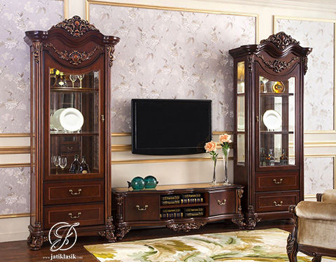 Set Bufet TV Ukir Anaida Jati Klasik