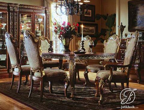Set Meja Makan Jati Ukir Royal Cicago