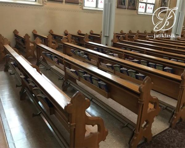 Bangku Gereja Klasik Mewah Minimalis Kayu Jati
