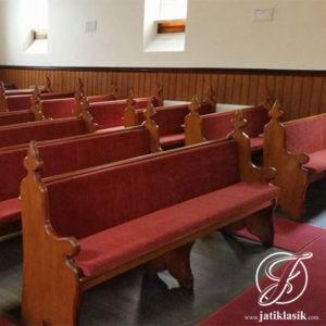 Bangku Gereja Minimalis Klasik Kayu Jati Jepara