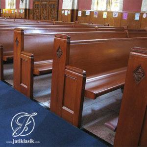 Bangku Gereja Minimalis Sederhana Kayu Jati Jepara
