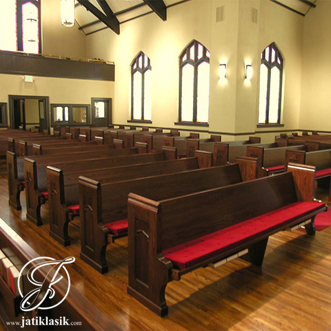 Bangku Gereja Panjang Minimalis Kayu Jati