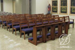 Kursi Gereja Jati Minimalis Jok Kulit
