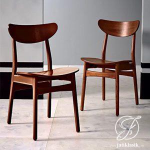 Kursi Cafe Oval Minimalis Kayu Jati