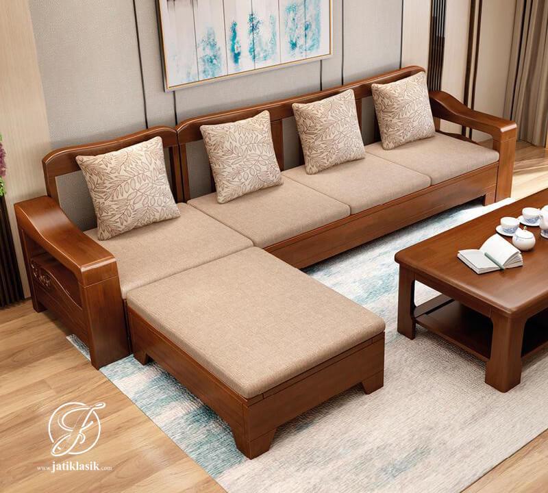 Kursi Tamu Minimalis L Jati Solid Taiwan Desain