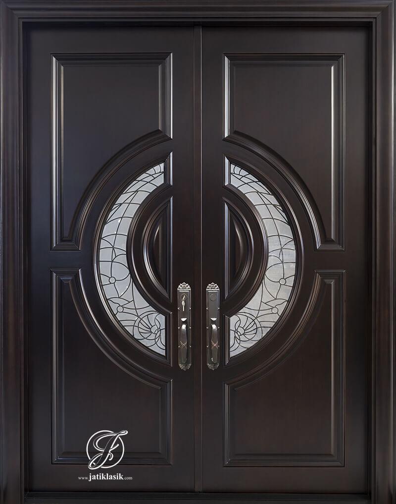 Pintu Rumah Jati Minimalis Kupu Tarung Kaca Es